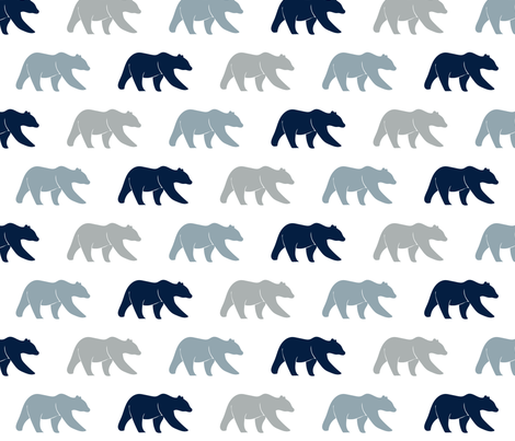 multi bear (navy, rustic woods blue, grey) wholecloth coordinate fabric by littlearrowdesign on Spoonflower - custom fabric