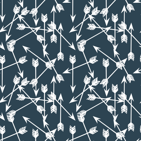 arrows fabric // dark navy fabric arrows coordinate fabric by andrea_lauren on Spoonflower - custom fabric
