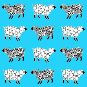 Cottonball Celtic Sheep on blue