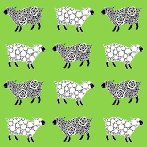 Cottonball Celtic Sheep on green