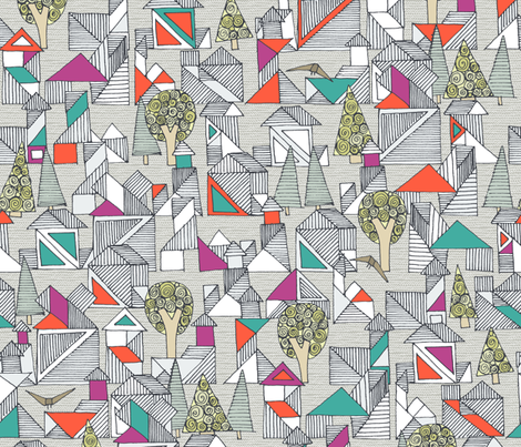 tangram town fabric by scrummy on Spoonflower - custom fabric