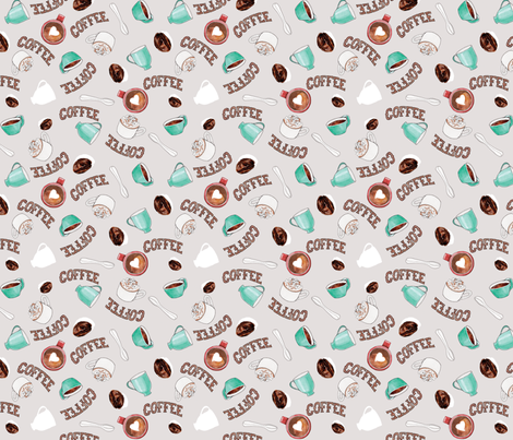 Watercolor Coffee, Light Gray fabric by heatherbiederman on Spoonflower - custom fabric
