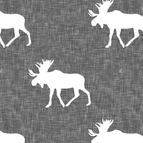 moose on grey linen fabric by littlearrowdesign on Spoonflower - custom fabric