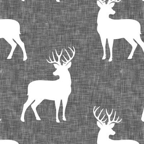 bucks on grey linen