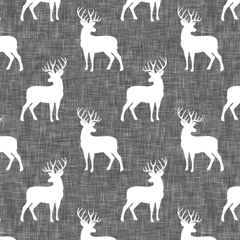 (small scale) buck on grey linen fabric by littlearrowdesign on Spoonflower - custom fabric