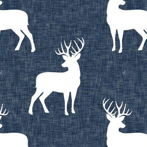 bucks on navy linen