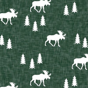 (small scale) moose and trees green linen