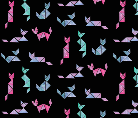 Tangram space cats fabric amberw spoonflower for Space cat fabric