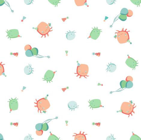 Octopus Birthday Party Balloons on White fabric by nicoledobbins on Spoonflower - custom fabric