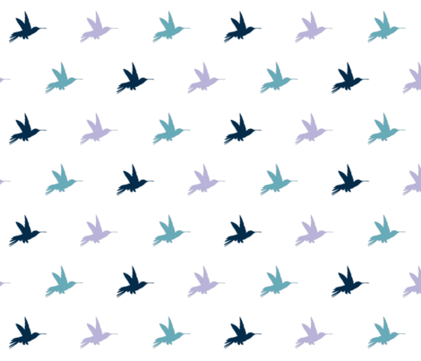 Hummingbirds - navy, Lavender and  teal fabric by sugarpinedesign on Spoonflower - custom fabric