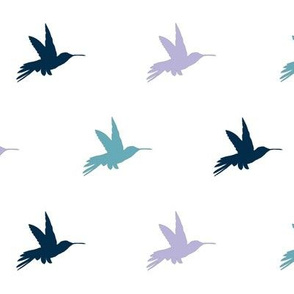 Hummingbirds - navy, Lavender and  teal