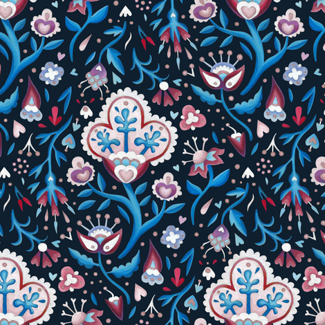 blue flowers fabric by marta_strausa on Spoonflower - custom fabric