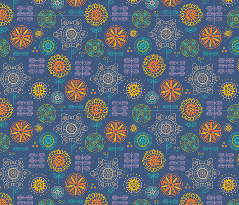 Mandala Meadow fabric by ellodesign on Spoonflower - custom fabric