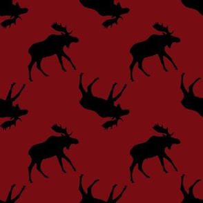 Moose Silhouette on Red