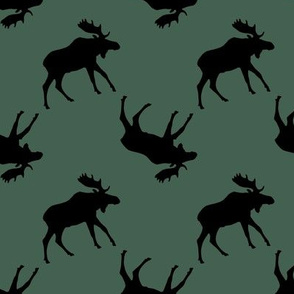 Moose Silhouette on Green