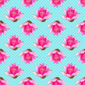 Pink Water Lilies White Polka Dots Blue