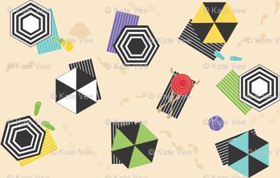 Hexagon Umbrellas and One Round Hat