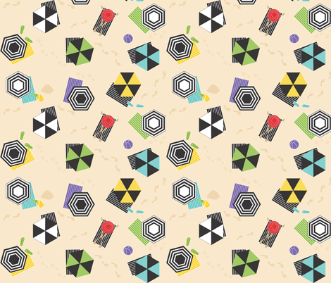 Hexagon Umbrellas and One Round Hat  fabric by colour_angel_by_kv on Spoonflower - custom fabric