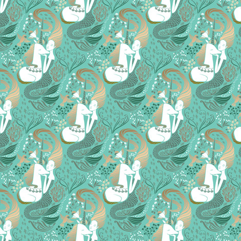 The Mermaid and the Unicorn - Adriatic - small scale fabric by ceciliamok on Spoonflower - custom fabric
