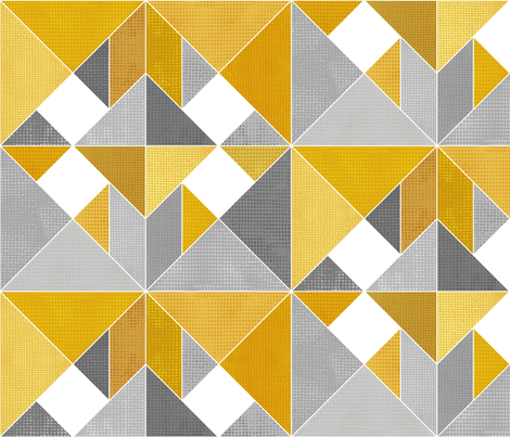 Golden Yellow Textured Tangram fabric by stitchyrichie on Spoonflower - custom fabric