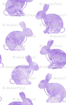 watercolor bunnies (purple) || easter fabric