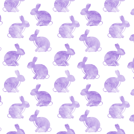 watercolor bunnies (purple) || easter fabric fabric by littlearrowdesign on Spoonflower - custom fabric