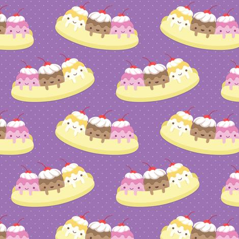 Kawaii banana split fabric by petitspixels on Spoonflower - custom fabric