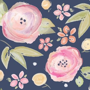 Watercolor Floral in Navy