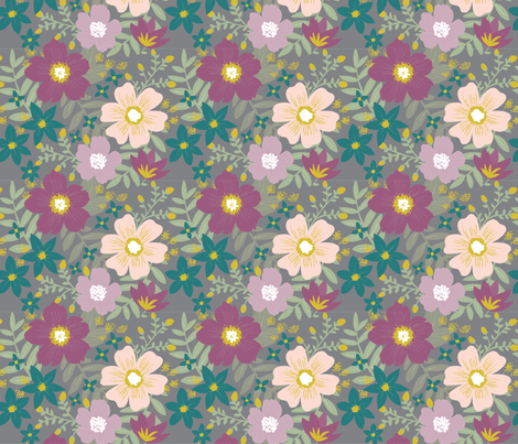 Botanical Garden Floral in Purple and Gray fabric by sugarfresh on Spoonflower - custom fabric