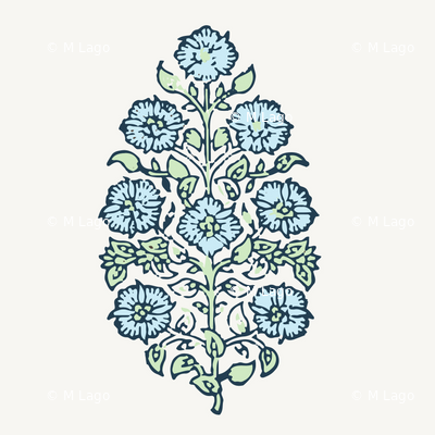 Mughal Flower Indian Block Print Fabric Green Blue