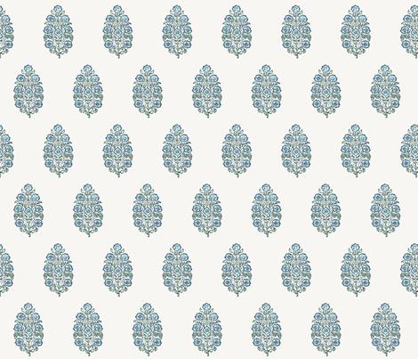 Mughal Flower Indian Block Print Fabric Green Blue fabric by jenlats on Spoonflower - custom fabric