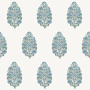 Mughal Flower Indian Block Print Fabric Green Blue