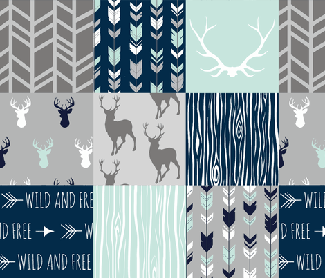 Adult version (no Little One) patchwork Deer- mint, navy, grey fabric by sugarpinedesign on Spoonflower - custom fabric