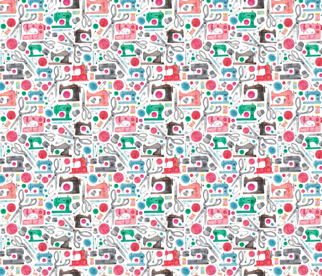 Sewing Pattern fabric by elena_o'neill_illustration_ on Spoonflower - custom fabric
