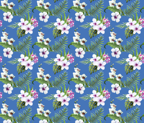 Tropical Orchid Palm Leaf Frawn Watercolor Water Color on Blue fabric by khaus on Spoonflower - custom fabric