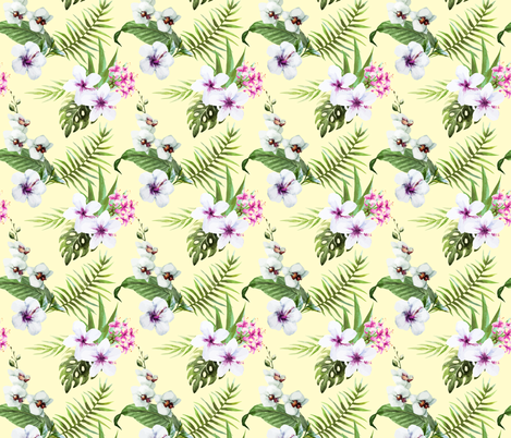 Tropical Orchid Palm Leaf Frawn Watercolor Water Color on Light Yellow-01 fabric by khaus on Spoonflower - custom fabric