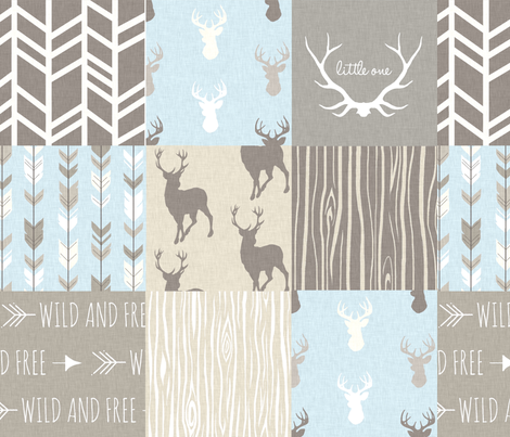 Patchwork Deer - tan, blue, grey- Little One Woodland Wholecloth Quilt - Deer, Arrows, Antlers fabric by sugarpinedesign on Spoonflower - custom fabric