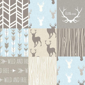 Patchwork Deer - tan, blue, grey- Little One Woodland Wholecloth Quilt - Deer, Arrows, Antlers