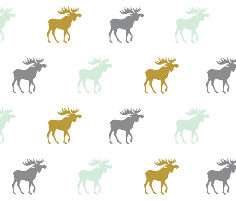 Moose - mint green, gold, grey fabric by sugarpinedesign on Spoonflower - custom fabric