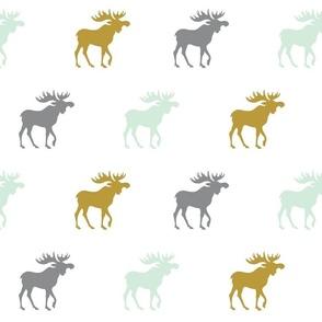 Moose - mint green, gold, grey