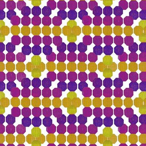 Cheerful Geometric Octagon Pattern Violet - Yellow