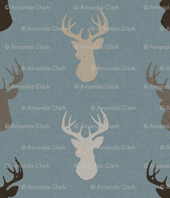 Deer - Brown/Tan on dusty blue with linen Texture - woodland Nursery - Bucks