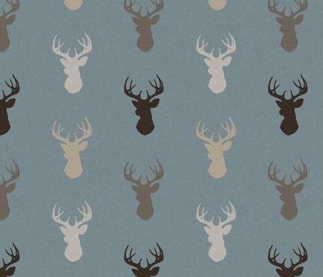 Deer - Brown/Tan on dusty blue with linen Texture - woodland Nursery - Bucks fabric by sugarpinedesign on Spoonflower - custom fabric