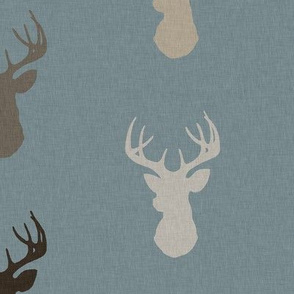 Deer - Brown/Tan on dusty blue with linen Texture - woodland Nursery - Bucks