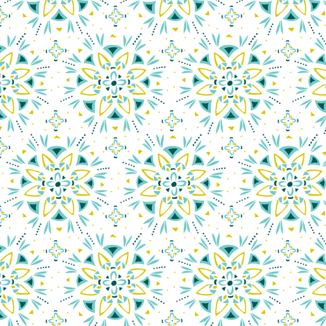 Illuminate - Boho Mandala Aqua fabric by heatherdutton on Spoonflower - custom fabric