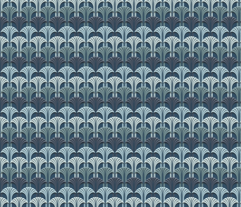 Deco Fan Deep Blue small fabric by pixelblender on Spoonflower - custom fabric