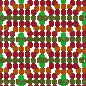 Cheerful Geometric Octagon Pattern Green - Red