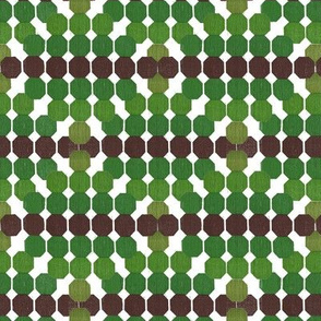 Refreshing  Geometric Octagon Pattern Green - Brown