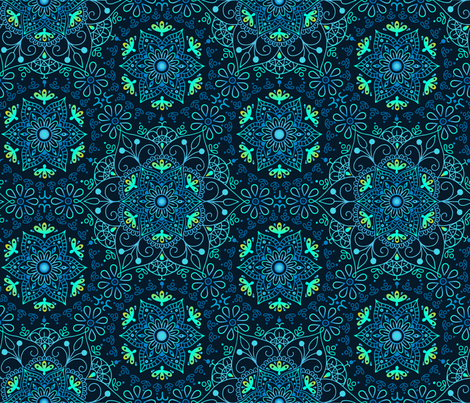 Mandala Cerulean fabric by mia_valdez on Spoonflower - custom fabric