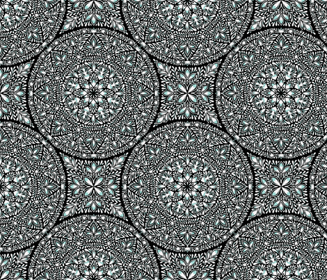 Mandala Foliage in Teal fabric by aygeartist on Spoonflower - custom fabric